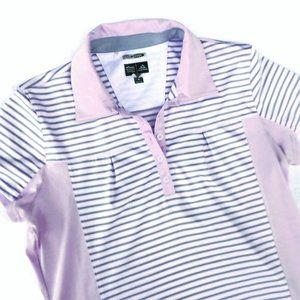 Adidas Golf Shirt ClimaCool Stripe Pink Gray M